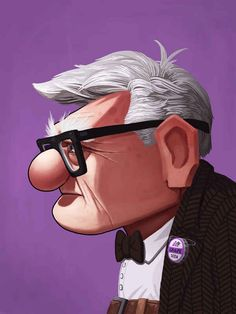 Carl Portrait | 25 Beautifully Reimagined Disney Posters That Capture The Magic Of The Films