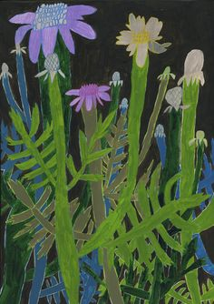 Scabiosa by Miroco Machiko, 2009 Art And Illustration, Illustration Cactus, Illustrations, Botanical Illustration, Art Floral, Floral Flowers, Art Japonais, Art Moderne, Japanese Artists