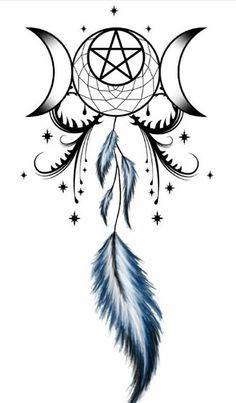 Tattoo with triple goddess and dream catcher entwined Heidnisches Tattoo, Wicca Tattoo, Tattoo Mond, Tattoo Hals, Back Tattoo, Pentacle Tattoo, Tattoo Forearm, Night Tattoo, Sternum Tattoo