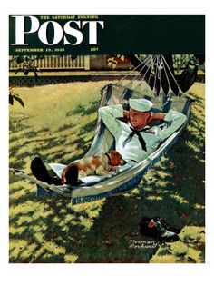 """""""On Leave"""" Saturday Evening Post Cover September 15 1945 Norman Rockwell Norman Rockwell Prints, Norman Rockwell Paintings, The Saturdays, Saturday Evening Post, Art Graphique, Mail Art, Caricatures, American Artists, Belle Photo"""