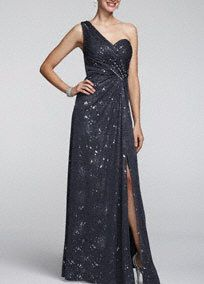 Glamorous and on-trend, this glittering long formal dress will help you make a grand entrance at any event!  One-shoulder bodice opens into a super-feminine sweetheart neckline accentuated with side ruching and beads for extra sparkle. All-over glitter mesh material will catch the light while a side slit adds to the allure of this floor-length gown.  Possibility for the ball!