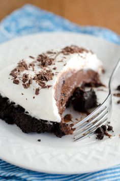 Double-Chocolate Cream Pie - a chocolate crust and a chocolate filling - by SeededAtTheTable.com