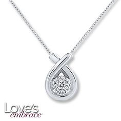 Loves Embrace Necklace 1/10 ct tw Diamonds Sterling Silver at Kays Jewelers