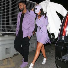 Bae! #Drake & #Rihanna rock purple...