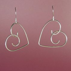 pinterest silver wire jewelry hearts | 925 Sterling Silver Handformed Wire Heart Earrings - product images ...