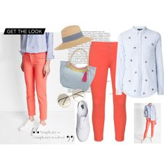 Coral in blue by ulstblog on Polyvore featuring moda, 7 For All Mankind, NYDJ, Vans, Chloé, Hat Attack and Balmain