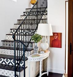 Stencil/tile staircase. LOVE. (Originally? from http://www.myhomeideas.com, photo by Roger Davies?)