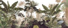 Ananbô panoramic wallpaper Voyage à Cochin Parrot Wallpaper, Tropical Wallpaper, Custom Wallpaper, Wall Wallpaper, Art Tropical, Tropical Forest, Cochin, Forest Mural, Mural Wall Art