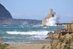 Waves hitting the Islote Cap Bernat, just in front of Benirràs, one of the nicest beaches of #Ibiza