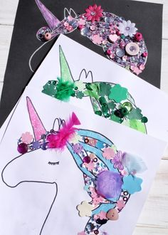 Three finished really easy unicorn craft items in different colours Craft Easy Unicorn Craft for Kids - with free printable template Unicorn Crafts, Unicorn Art, Birthday Crafts, Unicorn Birthday Parties, Crafts For Teens To Make, Art For Kids, Art Party, Party Crafts, Unicorns