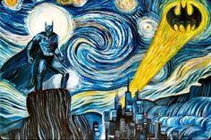 I bet you idiots think Vincent Van Gogh painted this. Sorry, Van Gogh died in Batman was created about 50 years after. Not Van Gogh. Vincent Van Gogh, Illustration Batman, Van Gogh Pinturas, Drawn Art, Art Van, Poster Design, Ouvrages D'art, Wow Art, Pics Art