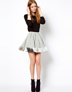 Oh my flippin flip I want this outfit!!! ASOS Skater Skirt with Metallic Hem