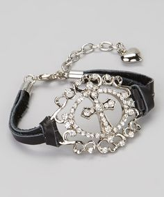 Take a look at this Silver & Black Cross Medallion Bracelet on zulily today!