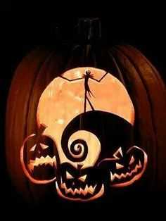 Nightmare Before Christmas pumpkin... One day I'll be able to carve a pumpkin like this!