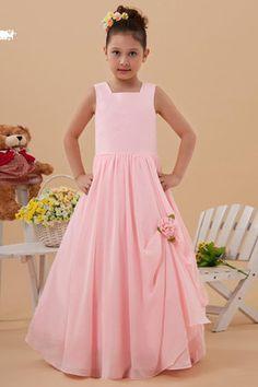 Abito da Cerimonia Bambini Quadrato Ball Gown in Chiffon in Taffeta Senza Maniche