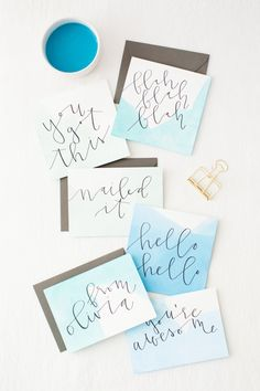 This dip dye watercolor stationary is a fun DIY for any occasion. Create your very own colors and style for birthday cards, wedding invitations, branding stationary, and more! #dipdye #diystationary #watercolor