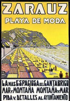 Izquierda: Cartel de Miguel Ángel Aguirreche de 1927 para promocionar el V Circuito Automovilista de San Sebastián, que incluía también el Gran Premio de España. Derecha: Promoción de la playa de Zarautz, obra del bergarés Nicolás Múgica. 1948.