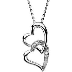 R45135 / Sterling Silver / 25.23X12.97 MM / Polished. Diamond Heart Pendant