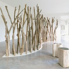 Tikibaq folding screen in lacquered stainless steel and driftwood – Natural blue – Chez Jardin Chic Tree Branch Decor, Tree Branches, Tree Wall, Branch Art, Manzanita Branches, Birch Trees, Deco Design, Display Design, Wood Display
