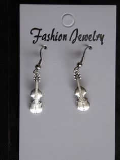 Silver Violin Earrings