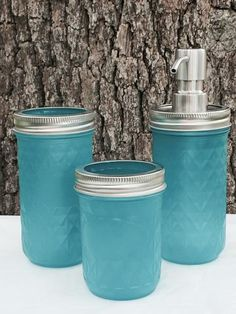 Copperas Creek Designs ~ Products ~ 3- Piece Turquoise Sea Glass Mason Jar Bath…