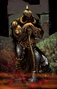 Death Dealer (by Gabos) Fantasy Heroes, Fantasy Warrior, Fantasy Characters, Frank Frazetta, Fantasy Paintings, Fantasy Artwork, Paladin, Heavy Metal Art, Fiction