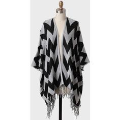 Full Moon Fringed Chevron Cardigan ($60) found on Polyvore