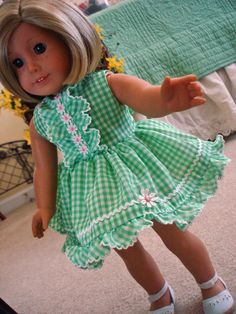 American Girl Gingham Ruffles and Daisies by SewSweetDaisy on Etsy, $17.00