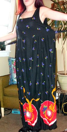 Craft, Thrift, or Die: Paint it Black: Refashion theme for the month! Cherry dress- before. thrift store dress refashion