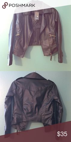 Black Faux Leather Moto Jacket Repost, doesn't fit me. These are her photos. Cute black jacket marked as a size small but fits XS!! I am a true small and it is too small for me, so I am listing as an XS. Brand is Zara Style (please note this is NOT the same as Zara) zara style Jackets & Coats