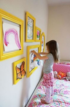 Beautiful way to display kid's artwork
