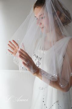 Elbow Length 2 Tier Wedding Veil With Glass Pearls and by LAmei