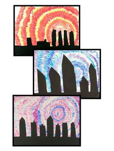 Cityscape Silhouettes - a positive-negative space art lesson - great for substitutes!