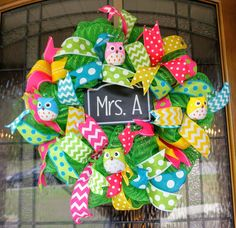 Owl Wreath-Mini. Classroom Wreath-Mini, School Wreath-Mini, Teacher Wreath-Mini, Classroom Door Hanger-Mini, School Door Hanger-Min by Texascaseyscreations on Etsy