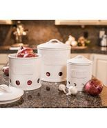 3-Piece Kitchen Canisters, White - $49.95