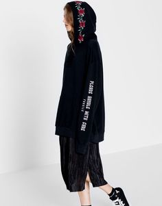 :Hooded sweatshirt with floral embroidery