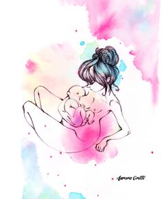 maternity - newborn - mother life - breastfeeding - illustration by Aurora Gritti watercolors + ink
