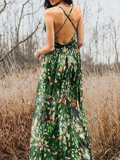 Bohemia V-Neck Backless Maxi Dress – oshoplive Long Sleeve Maxi, Maxi Dress With Sleeves, Maxi Kaftan, Bohemia Dress, Bohemian Style Dresses, Backless Maxi Dresses, I Love Makeup, One Piece Swimwear, I Love Fashion