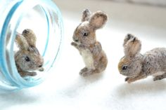 impressive detail work! --> mini cottontail rabbit. tiny needle felted wool by FibersofBeing, $18.00