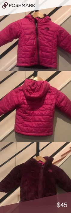 12-18m Girls TFN Infant Reversible Mossbud Perfect for cold weather. This is my 3rd North Face coat for my kids, and they stand the test of time. In good condition, a few signs of wear which are shown in photos but nothing really noticeable. Please let me know if you have any questions.    A quilted taffeta exterior with lightweight insulation that reverses to reveal soft, Silken fleece. Taffeta is treated with a DWR (durable water repellent) finish to keep her dry during light rain showers…