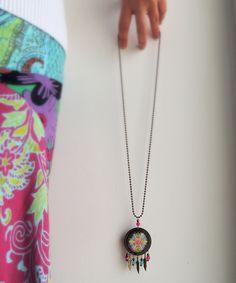 Dreamcatcher Necklace TIME MANDALA Spiral Mandala Jewelry with Meaning Gypsy Jewelry Gyspy Necklace Boho Necklace Boho Jewelry Long Necklace