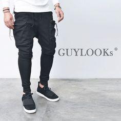 Double Zip Big Cargo Pocket Mens Black Slim Baggy Jogger Sweat Pants Guylook