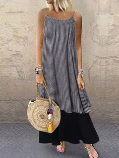 Cheap best O-NEWE Casual Plaid Patchwork Spaghetti Straps Summer Plus Size Dress on Newchic, there is always a plus size casual dresse suits you! Plus Size Casual, Plus Size Jeans, Boho Plus Size, Plus Size Sommer, Casual Dresses, Fashion Dresses, Sleeveless Dresses, Casual Clothes, Cotton Dresses