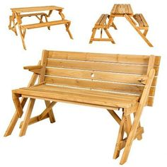 Wooden Folding Interchangeable Picnic Table 2 Benches 2 in 1 Portable Patio Set #Unbranded
