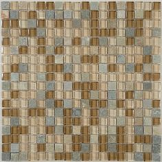 "Chestnut Screen  5/8"" x 5/8"" Cream/Beige Backsplash Glossy & Unpolished Glass an - modern - tile - by Glass Tile Oasis"