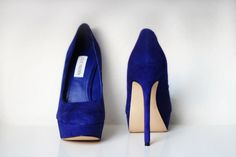 Rock our platform heels for a stylishly retro look that's totally on trend. Add height effortlessly with gorgeous platform high heels from Steve Madden. Blue Suede Pumps, Blue Heels, High Heels, Suede Heels, Stilettos, Platform Shoes Heels, Women's Shoes, How To Make Shoes, Kinds Of Shoes