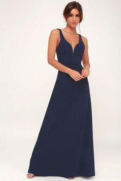 Never settle for anything less than the Lulus Glamour Than This Navy Blue Maxi Dress! Sultry sleeveless maxi dress with princess seams and a deep V-neckline. Next Bridesmaid Dresses, Affordable Bridesmaid Dresses, Bridesmaids, Women's Dresses, Summer Dresses, Blue Maxi, Navy Blue Dresses, Maid Of Honour Dresses, Dresses For Less