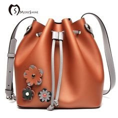(42.72$)  Buy here - http://aif8f.worlditems.win/all/product.php?id=32735207356 - MORESHINE Women Genuine leather Shoulder bag Real leather 3D flower Design women's Bucket bag Female Drawstring Crossbody Bags