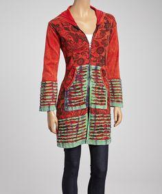 floral zip Hoodie | Red Floral Razor-Cut Zip-Up Hoodie