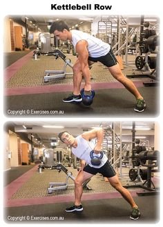 Kettlebell Row is an effective exercise to target your lats, rear shoulders, traps, biceps and forearm muscles. Because you are working each side unilaterally, you will engage your core muscles to stabilise the upper body and support the lower back. Watch the demo... http://www.exercises.com.au/kettlebell-row/
